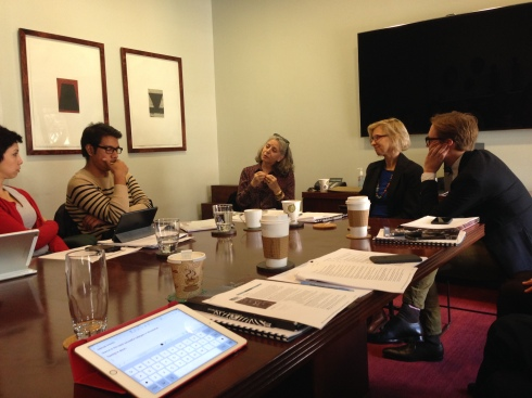 The ADR group meeting with (last three from left) Ella Baff of the Mellon Foundation, Leah Krauss from the Mertz Gilmore Foundation, and Lane Harwell of Dance/NYC